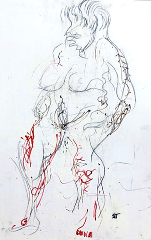 This painting by Steven Tannenbaum uses acrylic paint and charcoal to do a rough sketch of a nude female form using black, white, grey, and red as colors