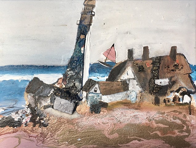 This mixed media / modern Assemblage art piece by Steven Tannenbaum uses acrylic paint and found objects to create a scene with a lighthouse, sea / ocean, and beach