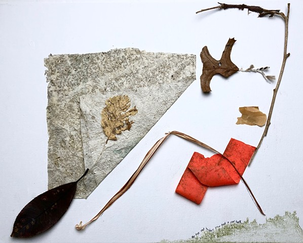 This found object assemblage was made using objects found on that day, and glued to a canvas board