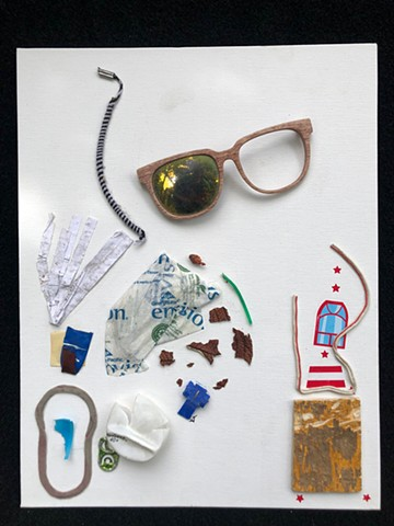 This mixed media piece by Steven Tannenbaum of The Art of Everything uses found objects to create flow, order and balance in a collage