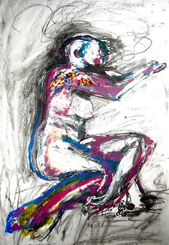 Figuring (repose III) is an acrylic painting & mixed media piece done by Steven Tannenbaum that uses paint, found pencil shavings, and charcoal to convey the picture of a smooth, resting nude model.