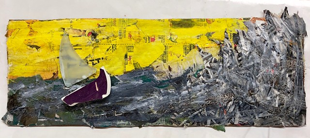 This collage with found objects shows a small boat in the ocean with large waves and a yellow sky