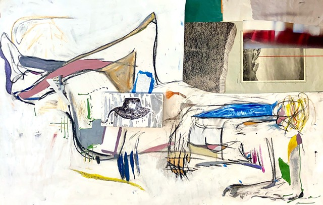This mixed media Figure painting by Steven Tannenbaum uses collage elements and found objects to show a woman with a small head laying down