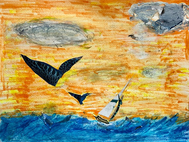 This mixed media piece shows an orange sky with grey clouds, and a small boat going across a rough ocean a bird going towards the boat