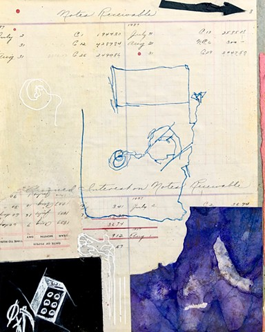 A blind contour drawing turned into a mixed media collage, this abstract work reflects changing ideas of path and circumstance along with math, bricks, and different creatures hunting - The Art of Everything by Steven Tannenbaum - art for all! Tao-E
