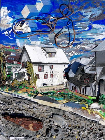This modern assemblage art piece by Steven Tannenbaum of StructureSlash uses all sorts of found objects: stone, wood, leaves, branches, collage, and balloon, along with acrylic paint, pen, and penci to depict a scene with a house, the sky, and clouds