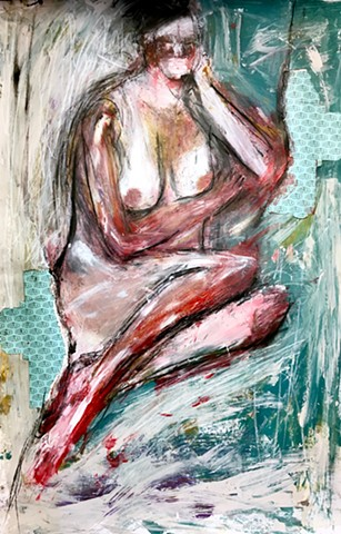 Acrylic mixed media figure painting by Steven Tannenbaum with collage and charcoal