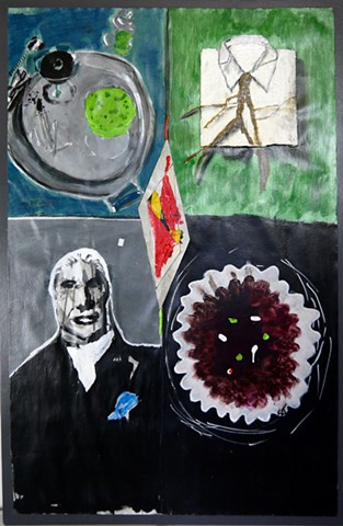 This mixed media art piece painting by Steven Tannenbaum combines acrylic paint, found objects (nails, paper), cardboard, and charcoal to represent a martini scene, a pressed shirt, a coffee filter with pills in it, and a lonely angry priest.