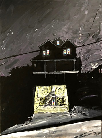 A picture of a house at night in the snow with its garage door open that uses acrylic and collage