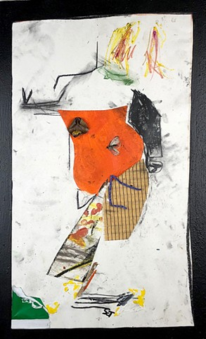 This figure drawing collage by Steven Tannenbaum is partly abstract and uses paint and found objects to make a portrait of a woman standing