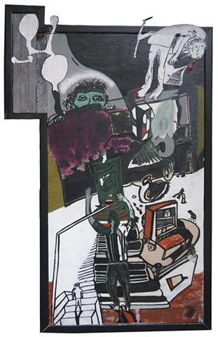 A mixed media painting by Steven Tannenbaum showing stairs, heads, some self-portraits, and dreams made with acrylic paint, marker, collage, pen, and paper