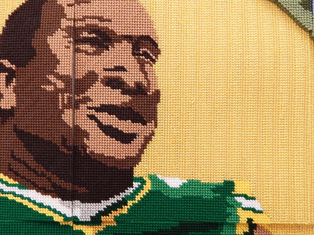 mike daniels football cross stitch craft nfl