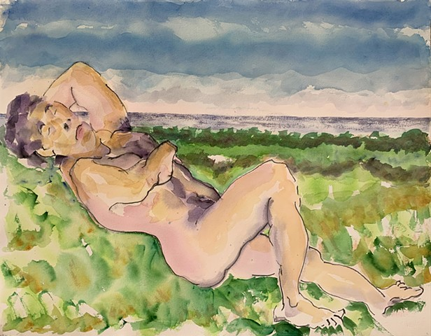 watercolor of male nude