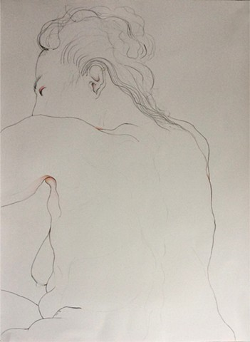 drawing of nude with pink notations in watercolor