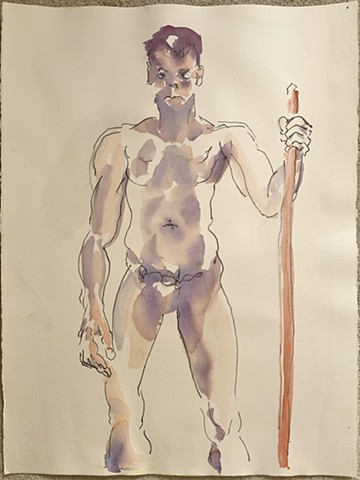 Watercolor of a warrior