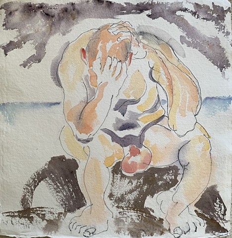 watercolor painting of male nude