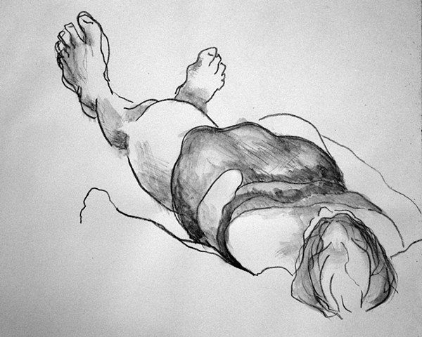 Drawing of a woman sunbathing on Scarborough Beach, Maine