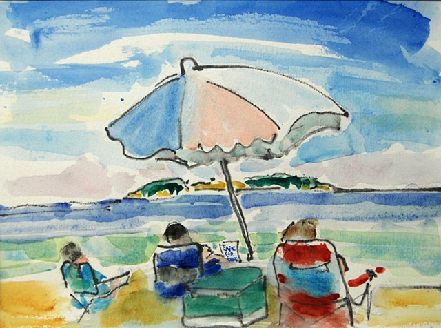 Scarborough beach, Cape Cod Chips, beach umbrella,