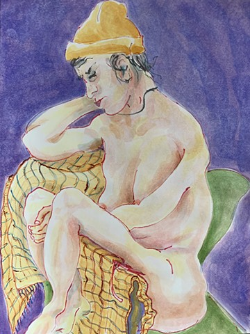 watercolor of nude with yellow hat