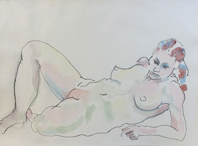 watercolor of nude with braid