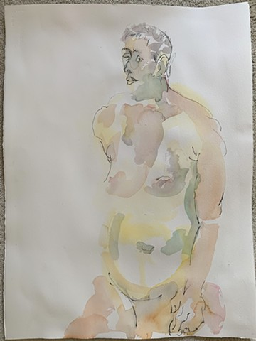 Wounded female nude figure watercolor