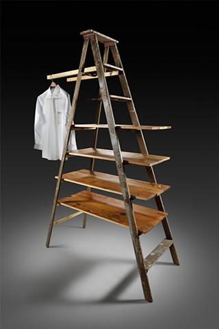 Valet, Found Ladder, Wood, Brass, Paint