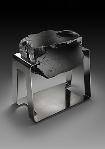 Polished Anthracite Coal in Tension Set in Polished Stainless Steel Mount with Brass Feet End Table