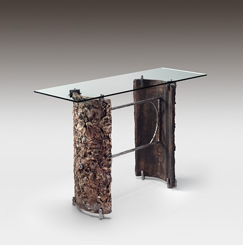Ceramic, Steel and Glass Industrial Hall Table