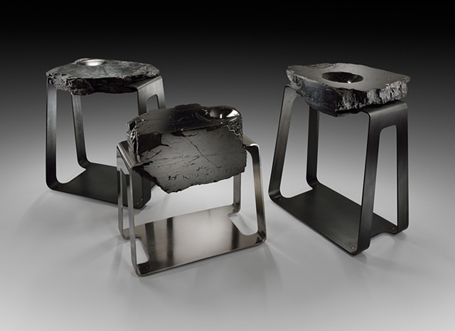 Polished Anthracite Coal in Tension Set in Polished or Patinated Stainless Steel Mount with Brass Feet End Table
