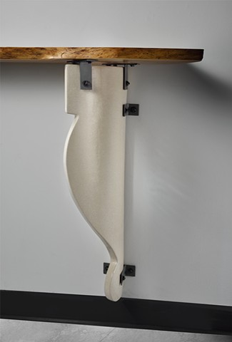 Natural Edge Elm Waterfall with Purple Heart Bow Tie, Ceramic Corbel, and Steel Hardware Wall Mount Shelf
