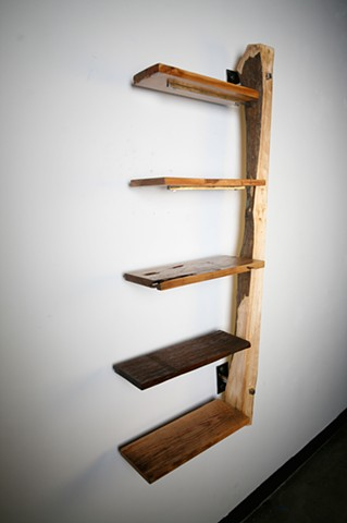 Reclaimed Wood and Steel Wall Mount Shelf at 5 Degrees