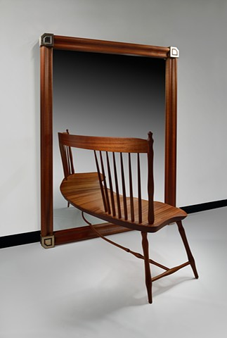 Mahogany and Bronze Mirror Chair