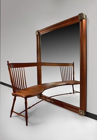 Mahogany and Bronze Mirror Chair