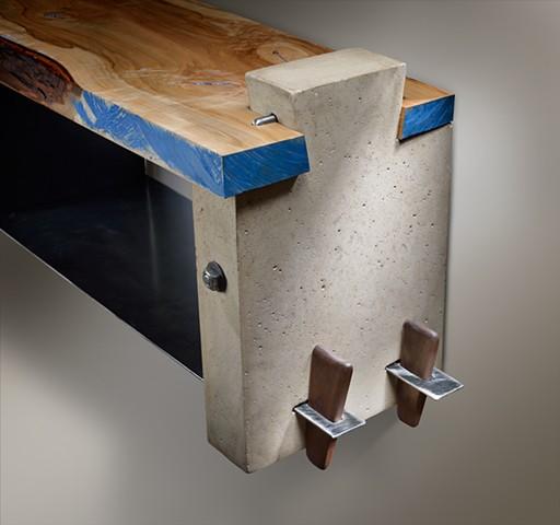 Wall Mount Shelf Polished Concrete, Live Edge Maple, Waterjet Cut Glass, Steel, Walnut Keys, Steel Through Tenons, and Paint