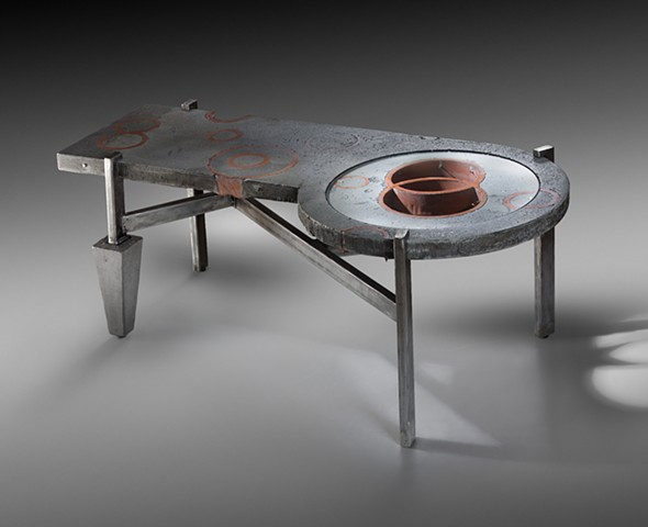 Concrete, Ceramic, Glass, and Steel, Coffee Table Industrial