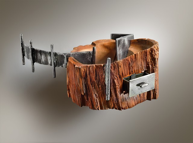 Cherry Log Bowl with Drawer, and Steel Hanger Arm Wall Mount Shelf