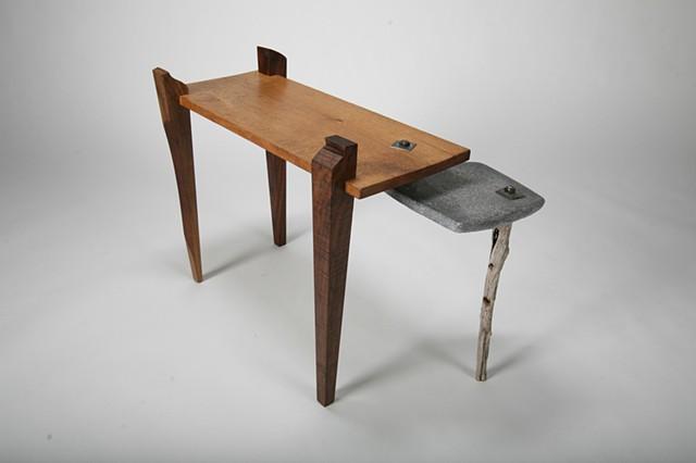 Concrete Scrap, Reclaimed Oak, Claro Walnut Gunstock Scrap, Reclaimed Steel Hardware Coffee Table or End Table