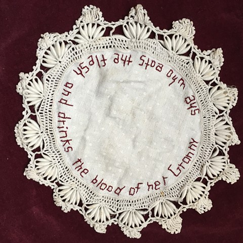 Hand Embroidery on antique Doily