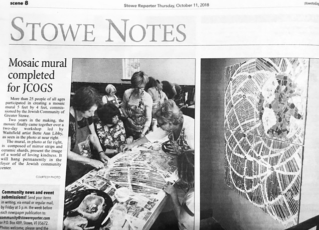 Stowe Reporter article on JCOGS Community Mosaic