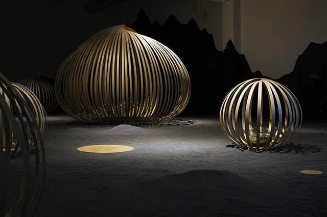 Installation art, wood work, museum, exhibition, meditation, sound