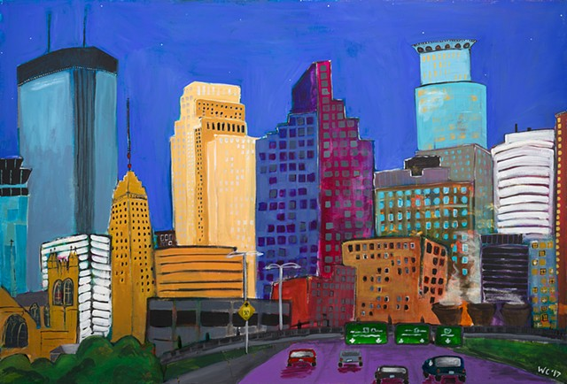 Coming in to Minneapolis original painting covered over; prints available