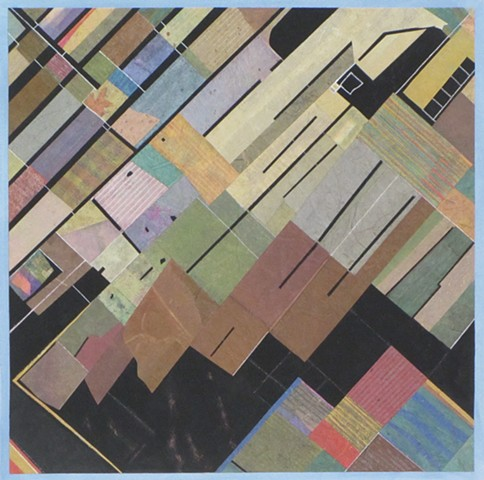 Formalist abstract collage referencing Google Earth image