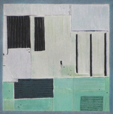 Formalist abstract painting referencing satellite image from Google Earth.