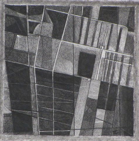 Formalist abstract charcoal drawing referencing satellite image from Google Earth.