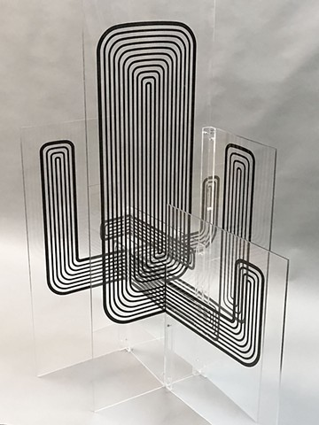 3D Drawing on acrylic. They appear to be kinetic drawings in space elongating and foreshortening as the view moves around them