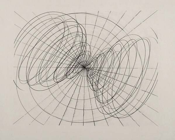 graphite on paper liner drawing energy spiraling vortex emanating from the center moving uniformly outward energetic pattern  unseen