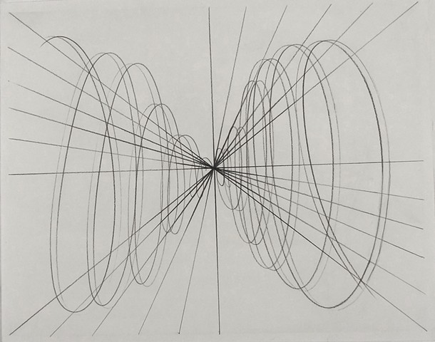 graphite on paper liner drawing energy spiraling vortex emanating from the center moving uniformly outward energetic pattern