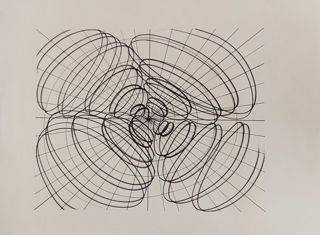India Ink on paper a liner drawing with energy spiraling vortex emanating from the center moving uniformly outward creating an energetic pattern