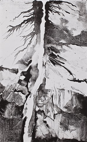 Donna Backues' river tree lithograph