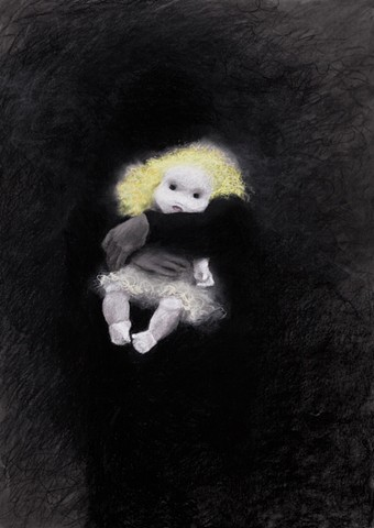 charcoal drawing of white doll by Donna Backues